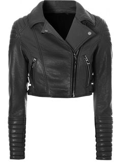 Black Leather Crop Biker Jacket