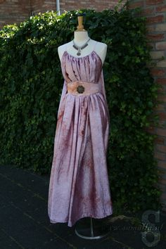 Shae Dress in Pink Tie-Dye crashed Satin with belt by SamallaNL