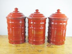 Vintage French enamel kitchen canisters caddies tea coffee red burgundy terracotta shabby chic