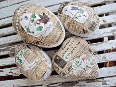 Papier maché eggs collaged with old magazine pages and botanical pictures!