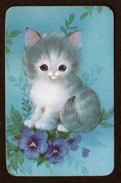 Kitten w/ Pansies