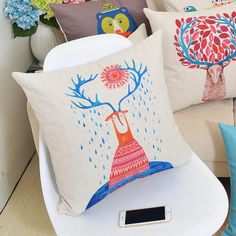 Deer pillow Hand painted art couch cushions for home decoration