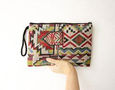 ikat ethnic purse geometric clutch, hippie boho pencil case, geometric bag, tribal wristlet #tribal #bag #aztec #boho #hippie