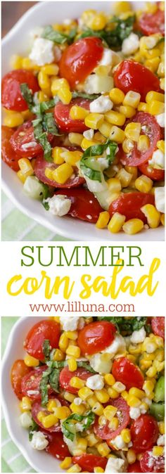 Corn Salad Summer Corn Salad Recipe- a light, flavorful salad filled with corn, tomatoes, feta, basil and cucumber It's perfect for BBQs and will be a hit at any party! The post Corn Salad appeared first on Woman Casual - Food and drink Summer Recipes, New Recipes, Vegetarian Recipes, Cooking Recipes, Healthy Recipes, Party Recipes, Recipes Dinner, Vegetarian Cooking, Snacks