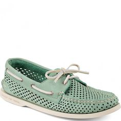 STS13378 Sperry Men's Authentic Original Perforated 2-Eye Boat Shoes - Green www.bootbay.com