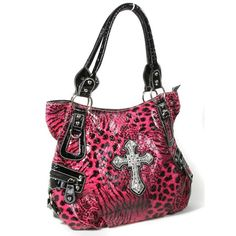 Amazon.com: Pink Black Animal Print Leatherette Bling Cross Handbag:... ($50) via Polyvore