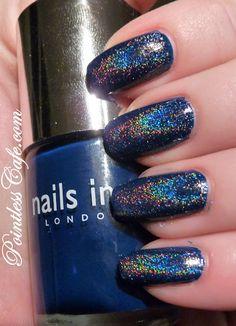 Nails Inc. Tudor Way with homemade spectraflair top coat.