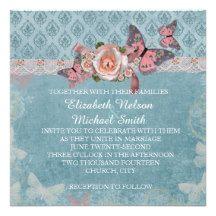 Blue Romantic Rose Damask Wedding Invite