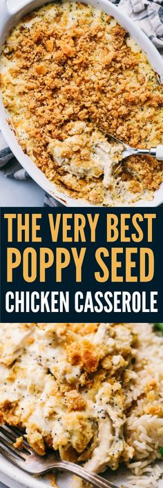 The Very Best Poppy Seed Chicken Casserole Poppyseed Chicken Casserole is such a classic dish that is incredibly easy to make! A creamy chicken casserole topped with a buttery ritz topping. This will be the best you ever make! Ritz Chicken Casserole, Poppy Seed Chicken Casserole, Ritz Cracker Chicken, Poppyseed Chicken Recipe, Gourmet Recipes, Cooking Recipes, Healthy Recipes, Bacon Recipes, Recipes