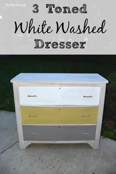 3 Toned White Washed Dresser - Grey Yellow White