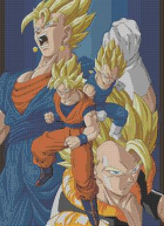 Dragonball Z - Goku Vegeta Gogeta Vegito (35 Colors) Cross Stitch Pattern