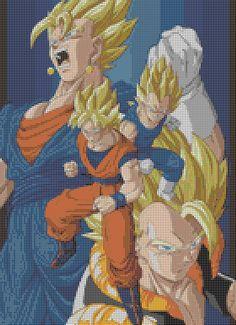 Dragonball Z - Goku Vegeta Gogeta Vegito (35 Colors) Cross Stitch Pattern