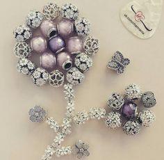 Pink and purple petite murano's