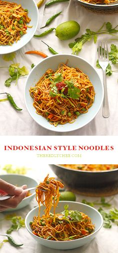 Mi Goreng - Indonesian style vegetable noodles, cooked with sambal and a sweetened soy sauce. A cheap and easy 30 minute meal, great alternative to weekend take out! www.theredlychee.com