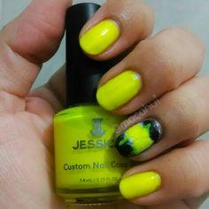 Nail Art, Nail Polish Jessica Cosmetics Yellow Flame