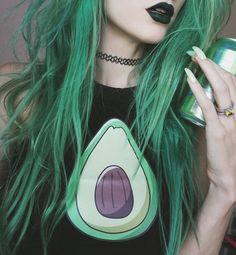 avocado, green, hair, lips, nails