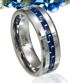 Tungsten and Blue Carbon Fiber Polished-Finish Wedding Ring with Beveled Edge - Futuristic and fashionable, this unique 8mm tungsten ring has a blue carbon fiber inlay that adds a high-tech look to its flat polished face. With a slightly beveled edge, polished finish and shiny blue center band, this is truly one of our most innovative mens alternative tungsten wedding rings.