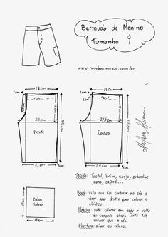 Infantil: Bermuda – DIY – molde, corte e costura Sewing Pants, Sewing Kids Clothes, Baby Clothes Patterns, Sewing For Kids, Baby Sewing, Clothing Patterns, Diy Clothes, Mens Sewing Patterns, Kids Patterns
