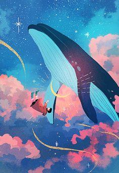 Aesthetic Art, Aesthetic Anime, Whale Art, Anime Scenery Wallpaper, Cute Art, Art Inspo, Amazing Art, Character Art, Fantasy Art