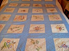PA DUTCH COUNTRY EMBROIDERED QUILT DATED 1937 | eBay Country Quilts, Embroidered Quilts, Hand Quilting, Blue Fabric, Dutch, Dating, Blanket, Ebay, Hand Embroidery