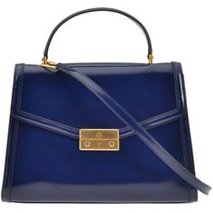 Juliette Bag (€376) ❤ liked on Polyvore featuring bags, handbags, shoulder bags, dark blue, dark blue purse, tory burch shoulder bag, tory burch, tory burch handbags and tory burch purse