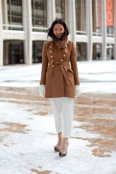 Camel coat and winter white