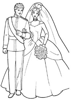 girls coloring pages barbie and ken wedding