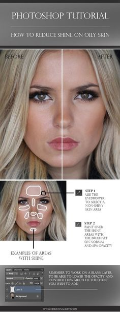 Photoshop Tutorial: How to take shine off oily skin in photoshop! Easy and works wonders. Great tool for your fashion or wedding photography! via @Christina Childress Childress Childress Greve