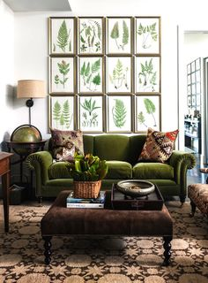 Gallery walls with green accented living room via COCOCOZY! #laylagrayce #livingroom #green