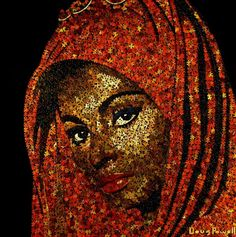 Mosaic artist Doug Powell uses thousands of puzzle pieces to assemble mosaic portraits that capture facial features right down to the finest features.