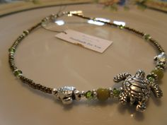 """Handmade For You - Perfect Summer Anklet Silver Sea Turtles Family Swarovski Crystal in Seafoam and Moss Japanese Seed Beads size 10"""" A37 by JewelsHandmadeForYou on Etsy"""