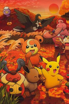 Pokemon Artwork Wallpaper Pikachu Teddyursa