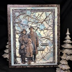 Sara Emily Barker Wishful Thinking Winter Card with Tim Holtz Sizzix Alterations Ideaolgy Ranger Products ; Christmas Cards 2018, Christmas Card Crafts, Vintage Christmas Cards, Vintage Cards, Foto 3d, Tim Holtz Stamps, Landscape Quilts, Art Lessons Elementary, Collaborative Art