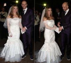 A dançarina Sheila Mello usou um vestido sereia com mangas longas de renda criado pela grife espanhola Rosa Clara em seu casamento com o ex-nadador Fernando Scherer, em junho de 2010.