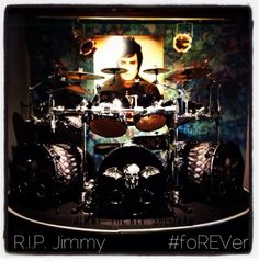 """Jimmy """"The Rev"""" Sullivan's touring kit, on display at the Hard Rock Hotel & Casino in Las Vegas. My Favorite Music, Most Favorite, Jimmy The Rev Sullivan, Zacky Vengeance, Synyster Gates, How To Play Drums, Hard Rock Hotel, Avenged Sevenfold, Huntington Beach"""