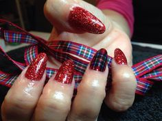 Lovely tartan nails using NSI products by Louise Garrett: Burns Night? Valentines Day or ANY day of the year I think!