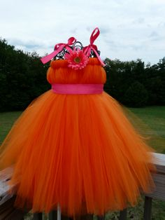 Orange crush orange  tulle dress flower girl dress by arudduck, $30.00 with different color ribbon