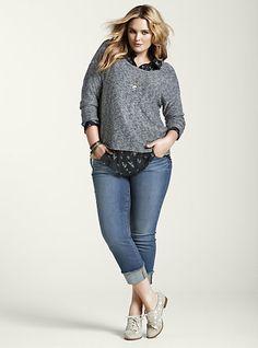 Torrid: Marled Pullover Sweater over Bird Print Chiffon Hi-Lo tunic shirt & White Label Cropped Boyfriend jeans