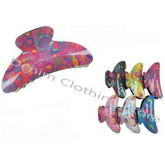 """6Pc Hair Snap Clamp Clip Claw Paisley Print Barrette Scallop Pin Updo Lots 3.5"""""""