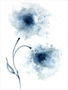 Beautiful Watercolour Painting of Flowers in shades of blue from my original Blue Abstract Floral series.My Original Artwork has been professionally photographed to capture all the fine detail. Each print is signed by myselfPrinted on gallery quality 315gsm fine art paper, 100% cotton rag acid free archival. The fine art paper has a natural white soft textured finish, with excellent colour reproduction and a luxury feel. Every art print is handmade in the UK by ourselves and is printed using the Blue Flower Wallpaper, Flower Artwork, Abstract Flowers, Abstract Watercolor, Watercolor Flowers, Painting Abstract, Painting Flowers, Watercolour Painting, Drawing Flowers