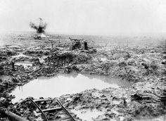 The destroyed landscape of the Passchendaele battlefield...WW I