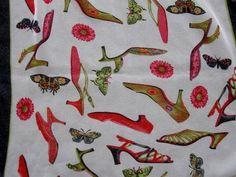 Vintage Long Polyester Scarf with Shoes Design  $10.00   #craftshout03/19