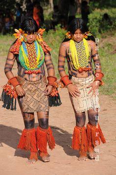South America | Portrait of two Karajá women, dancing a traditional dance, Ilha do Tocantins, Brazil | © Serge Guiraud