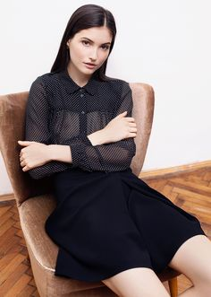 Lauren black shirt. Classic shirt tailoring is balanced by feminine details. Gentle folds at front and back, delicate pleats on the sleeves, playful transparency and fun polka-dots. The loose silhouette brings fluidity and softness, while ensuring a comfortable fit. Fall Capsule, Polka Dots, Bring It On, Delicate, Feminine, Turtle Neck, Silhouette, Classic, Fit