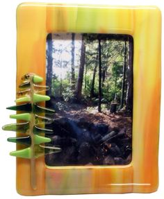"""From my Algonquin Series...fused glass 4"""" x 6"""" fused glass frame.  Great colors for those special outdoor pictures."""