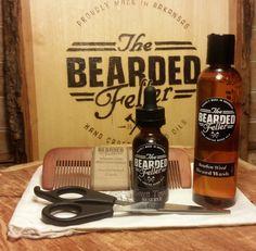 Bearded Fellers's Travel Beard Kit - Starter kit includes Beard Oil, Bourbon-Wood Beard Wash, Barber Scissors, Comb, Travel bags