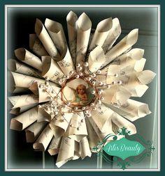 ART IS BEAUTY: Graphics Fairy Sheet music wreath using OLD CD  http://arttisbeauty.blogspot.com/2012/12/graphics-fairy-sheet-music-wreath-using.html