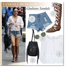 Celebrity Style: Vanessa Hudgens by monmondefou on Polyvore featuring polyvore fashion style Denim & Supply by Ralph Lauren M.S.P. Carlos by Carlos Santana Urban Originals Ray-Ban