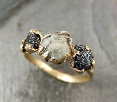 #Wedding - Rough Uncut Diamond Engagement Ring.  14k yellow Gold, Set with Black and white rough cut diamonds.