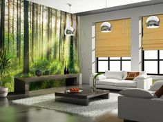 Non-woven Wallpaper - Sunset in the Woods. Easy to install and remove from the wall. Highest quality. Free shipping within UK. Living room and bedroom fine decor.